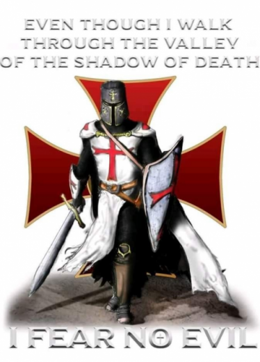 Picture of a Knight Templar with Fear No Evil caption